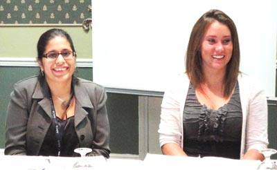 Photograph of University of Tampa Sociology Majors, Ms. Christine Fenandez (left), and Ms. Jillian Palmer (right), a student enrolled in the Concentration in Applied Sociology, presenting  their evaluation research on preventative programs for children, sponsored by Champions for Children (formerly, the Child Abuse Council) of Tampa Bay, Florida, at the 2011 Annual Meeting of the Association for Applied and Clinical Sociology (AACS) in New Orleans, Louisiana.